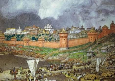Moscova în vremea cneazului Ivan al III-lea. Acuarelă săvârșită de Apollinari Wasnezow în anul 1921