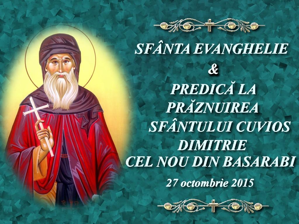 Sf Ev si Pred la Sf Dimitrie cel nou 27 oct 2015