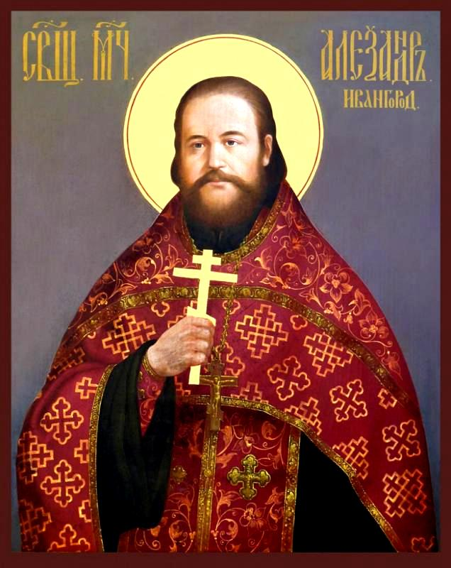 """Sfântul Mucenic Alexandru Volkov. Icoana din biserica """"Adormirea Maicii Domnului"""" din Ivangorod"""
